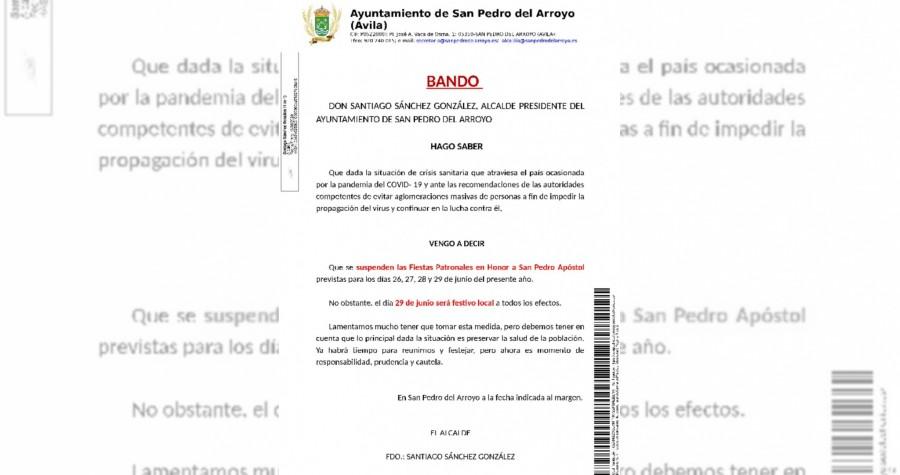 Bando Suspensión de Fiestas 2020